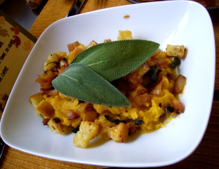 Butternut Squash White Bean Puree with Bacon Sage Crouton