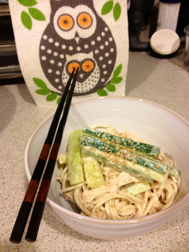 Tahini Noodles with Chicken and Cucumber