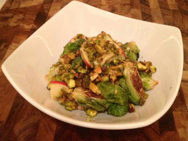 Roasted Brussel Sprouts with Fuji Apples and Pistachios