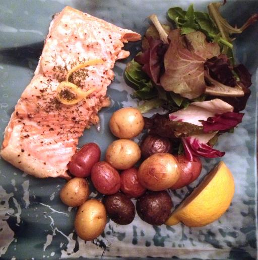 Steamed Salmon with Roasted Potatoes and Greens