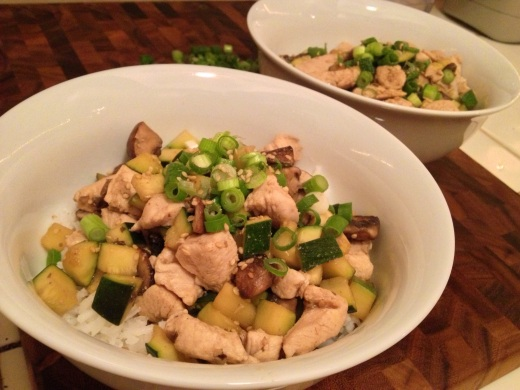 Chicken Stirfry with Zucchini and Mushrooms