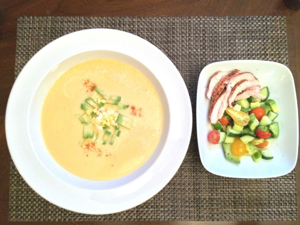 Chipotle Corn Soup with Grilled Chicken Salad